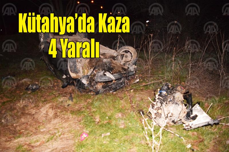 Kütahya'da otomobil devrildi: 4 yaralı