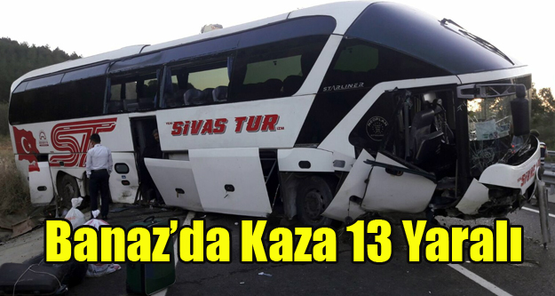 BANAZ#039;DA OTOBÜS KAZASI 13 YARALI