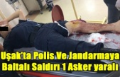 UŞAK'TA POLİS VE JANDARMAYA BALTALI SALDIRI