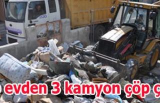 Çöp evden 3 kamyon çöp çıktı