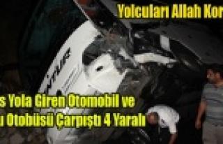 UŞAK'TA OTOMOBİL VE YOLCU OTOBÜSÜ ÇARPIŞTI...