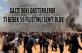 GAZZE'DEKİ GÖSTERİLERDE 1'İ BEBEK 59 FİLİSTİNLİ...
