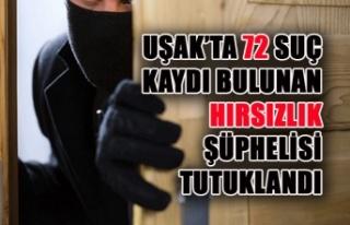 Uşak'ta 72 Suç Kaydı Bulunan Hırsızlık Şüphelisi...
