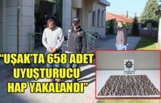 """UŞAK'TA 658 ADET UYUŞTURUCU HAP YAKALANDI"""