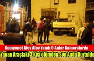 Kaza yapan Kamyonet alev alev yandı Yanan Araçtaki...