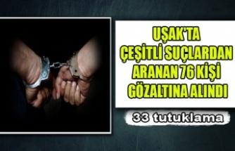 UŞAK'TA ÇEŞİTLİ SUÇLARDAN ARANAN 76 KİŞİ GÖZALTINA ALINDI