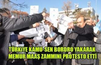 TÜRKİYE KAMU-SEN BORDRO YAKARAK  MEMUR MAAŞ ZAMMINI PROTESTO ETTİ