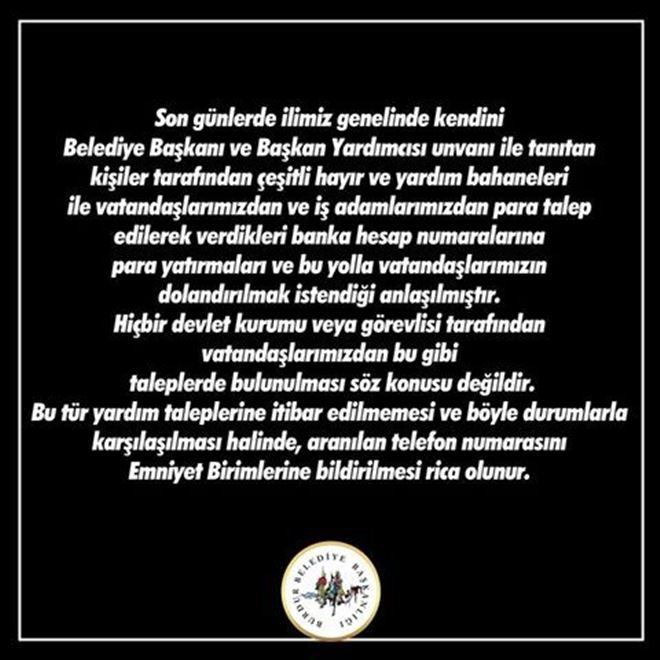 Burdur Belediyesi'nden Dolandırıcılık Uyarısı!