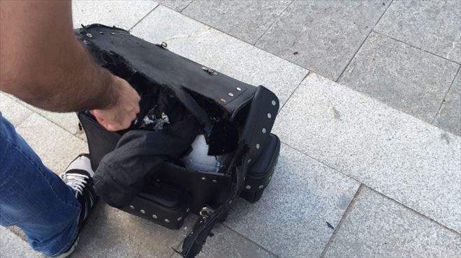 Şüpheli Çantadan Motosiklet Kaskı Çıktı