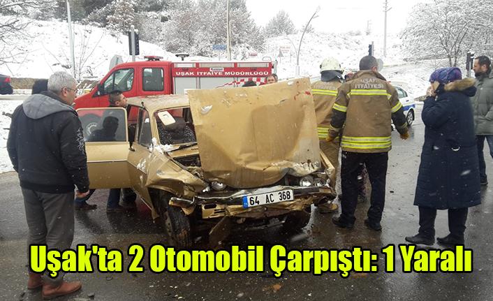 Uşak'ta 2 Otomobil Çarpıştı: 1 Yaralı