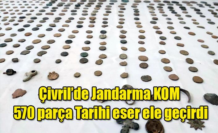 Çivril'de Jandarma KOM 570 parça tarihi eser ele geçirdi