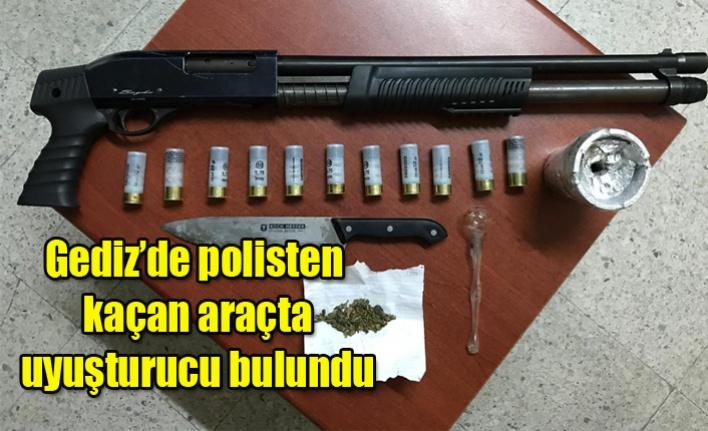 Gediz'de polisten kaçan araçta uyuşturucu bulundu