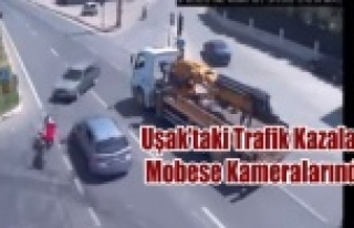UŞAK'TA Kİ TRAFİK KAZALARI MOBESE DE