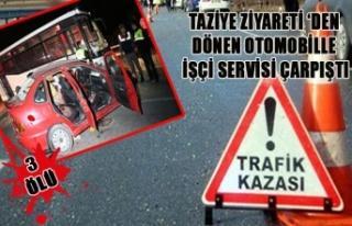 TAZİYE ZİYARETİ 'DEN DÖNEN OTOMOBİLLE İŞÇİ...