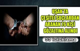 UŞAK'TA ÇEŞİTLİ SUÇLARDAN ARANAN 76 KİŞİ...
