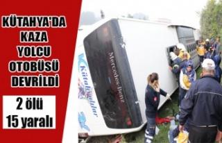KÜTAHYA'DA KAZA YOLCU OTOBÜSÜ DEVRİLDİ 2...