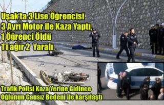 UŞAK'TA LİSE ÖĞRENCİLERİ KAZA YAPTI 1 ÖĞRENCİ...