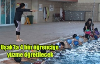 Uşak'ta 4 bin öğrenciye yüzme öğretilmesi...