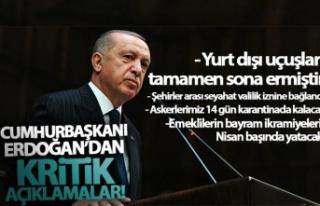Cumhurbaşkanı Erdoğan'dan koronavirüs tedbirlerine...
