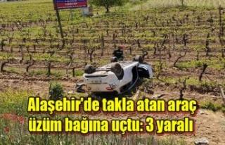 Alaşehir'de takla atan araç üzüm bağına...