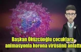 Başkan Öküzcüoğlu çocuklara animasyonla korona...