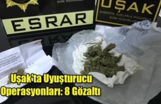 Uşak'ta Uyuşturucu Operasyonları: 8 Gözaltı...