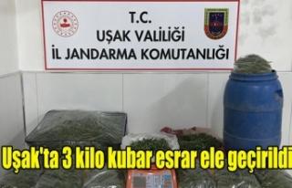 Uşak'ta 3 kilo kubar esrar ele geçirildi