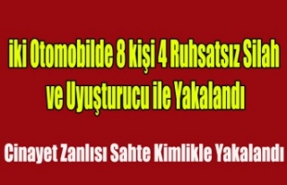 UŞAK POLİSİ İKİ ARAÇ'TA 4 SİLAH, UYUŞTURUCU...