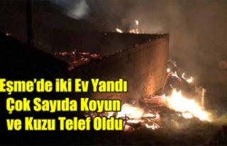 EŞME'DE İKİ EV YANDI ÇOK SAYIDA KOYUN VE...