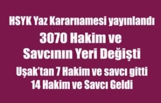 HSYK YAZ KARARNAMESİ YAYINLANDI, UŞAK'TAN 7...