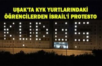 UŞAK'TA KYK YURTLARINDAKİ ÖĞRENCİLERDEN İSRAİL'İ PROTESTO