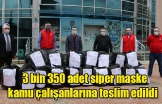 3 bin 350 adet siper maske kamu çalışanlarına teslim edildi