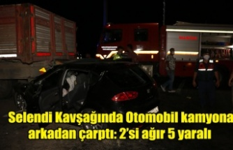 Selendi Kavşağında Otomobil kamyona arkadan çarptı: 2'si ağır 5 yaralı